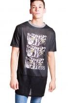 FFOMO Cody Tiger Print  long over sized T-shirt With Black Airtex Hem