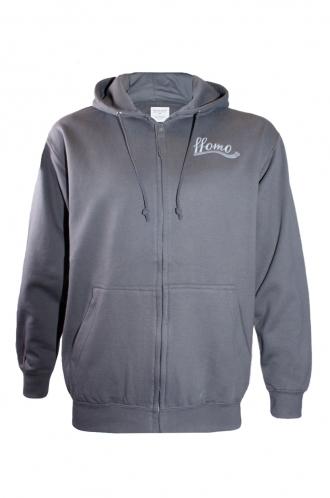 FFOMO Daniel ffomo logo Embroidered Grey Zipped Hoodie