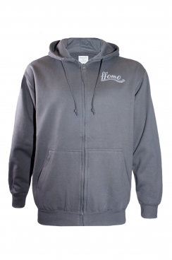 Daniel ffomo logo Embroidered Grey Zipped Hoodie