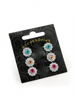 3 Piece, crystal flower stud earrings.- silver &Blue, silver &Orange and silver & pink.