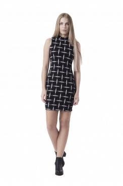 Abigail High Neck Black and White Bodycon Dress