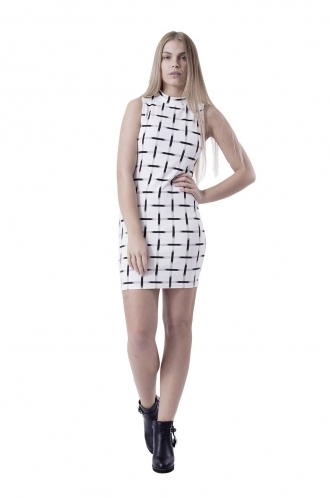 FFOMO Abigail High Neck White and Black Bodycon Dress