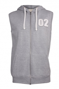 Adam 02 Applique Patch Sleeveless Metal Zipped Hoodie