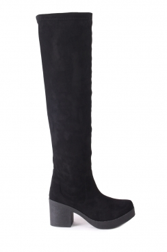 Agatha faux black suede over the knee boots