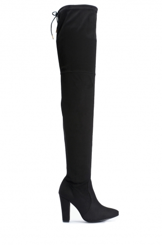 FFOMO Agnes Black Faux Suede Over The Knee Thigh Boots