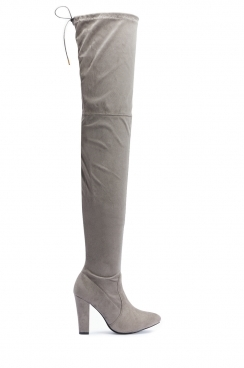 Agnes Grey Faux Suede Over The Knee Thigh Boots