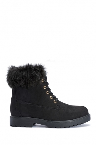 FFOMO Alexa black faux suede fur ankle boots