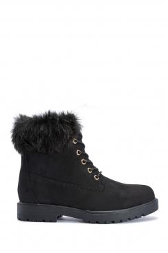 Alexa black faux suede fur ankle boots