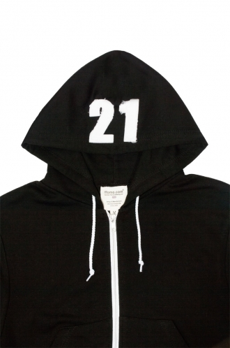 FFOMO Alice 21 Applique Hood Patch Cropped Black Metal Zipped Hoodie
