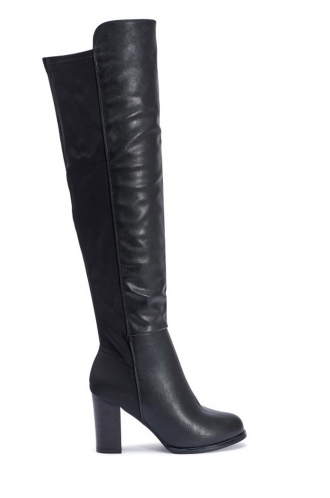 FFOMO Amanda black PU over the knee high heeled boots
