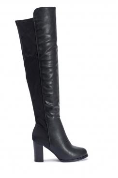 Amanda black PU over the knee high heeled boots