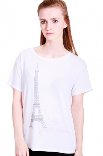 FFOMO Amelie Eiffel tower printed  oversized t-shirt