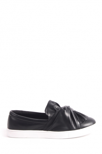FFOMO Angelica black PU bow slip on