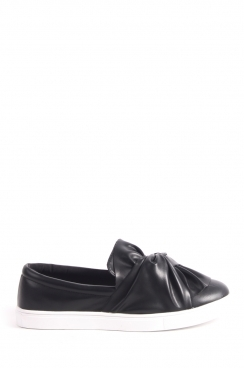 Angelica black PU bow slip on