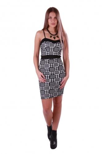 FFOMO Aniya Houndstooth Strappy Bodycon Dress