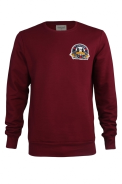 Archie London Embroidered Patch Burgundy Sweatshirt