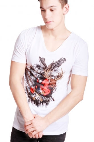 FFOMO Archie Mixed College Print Slim Fit with Deep V Neckline T-shirt