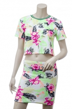 Aria Neon Tropical Print Crop Top With Matching Midi Zip Skirt