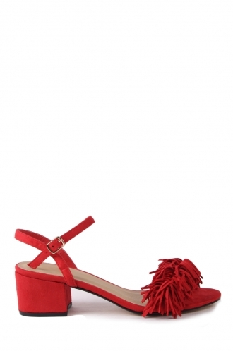 FFOMO Ashlyn red block heeled sandals faux suede tassels