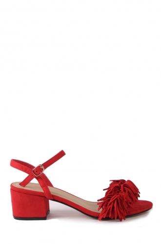 FFOMO Ashlyn red block heeled sandals faux suede tassels