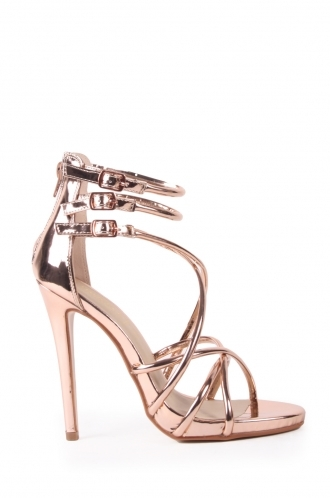 FFOMO Aubry rose gold metallic PU strap stilettos