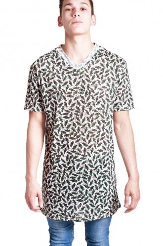 FFOMO Austin Leaf Print long over sized T-shirt with v-neckline