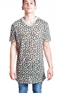 Austin Leaf Print long over sized T-shirt with v-neckline