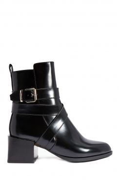 Avril Black Shinny PU ankle boots