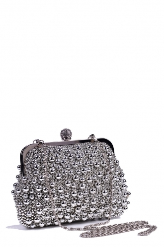 FFOMO Beaded Silver Snap Lock Clutch