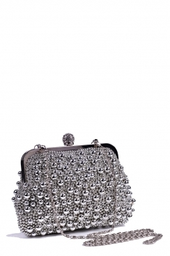 Beaded Silver Snap Lock Clutch