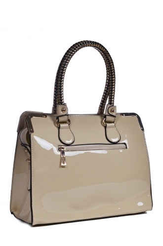 FFOMO Beige Patent Tote Bag With Plated Handles