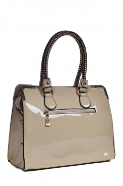 Beige Patent Tote Bag With Plated Handles