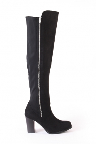 FFOMO Bella Black faux suede over the knee heeled boots