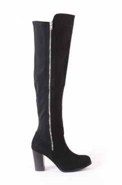 Bella Black faux suede over the knee heeled boots