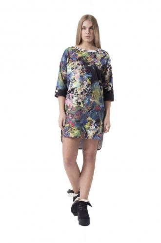 FFOMO Bella Winter Floral Shift Dress With Drop Back Hem