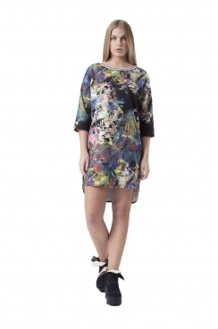 Bella Winter Floral Shift Dress With Drop Back Hem