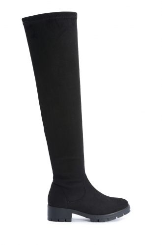 FFOMO Betty Black Faux Suede Over The Knee Boots