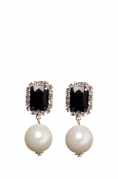 Black Crystal and Pearl Drop Earrings