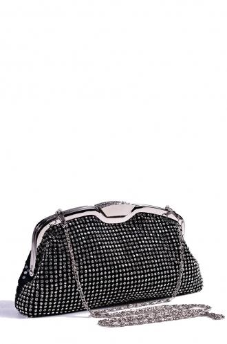FFOMO Black Diamante Clutch Bag