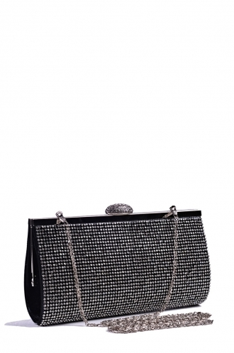 FFOMO Black Diamante Hard Clutch Bag