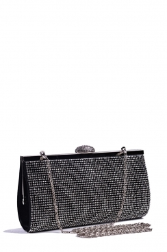Black Diamante Hard Clutch Bag
