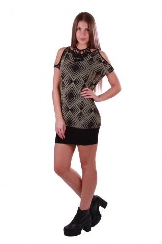 FFOMO Black Fiona Shift Glitter Dress with Cut Out Shoulder