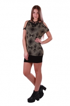 Black Fiona Shift Glitter Dress with Cut Out Shoulder