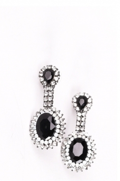 Black Gem Drop Statement Earrings