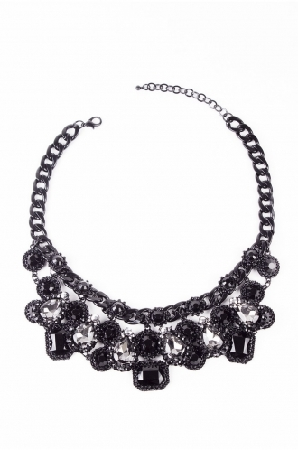 FFOMO Black Gem Statement Necklace