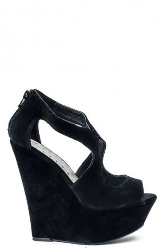 FFOMO Black Mya High Wedge Peep Toe