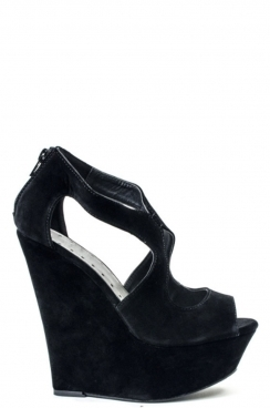 Black Mya High Wedge Peep Toe