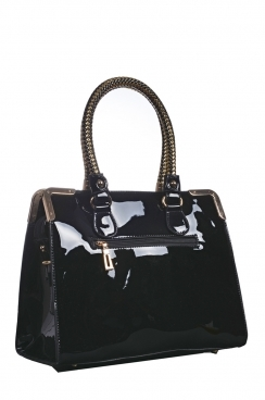 Black Patent Tote Bag With Plated Handles