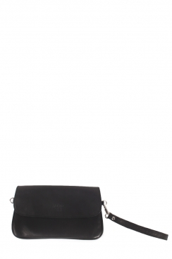 Black Pochette Real Goat Leather Envelop Clutch Bag