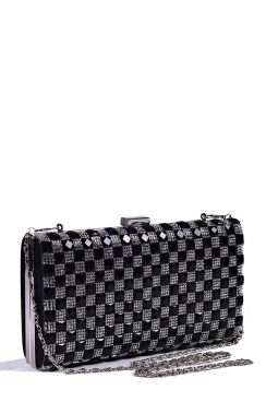 Black Square Diamante Clutch Bag